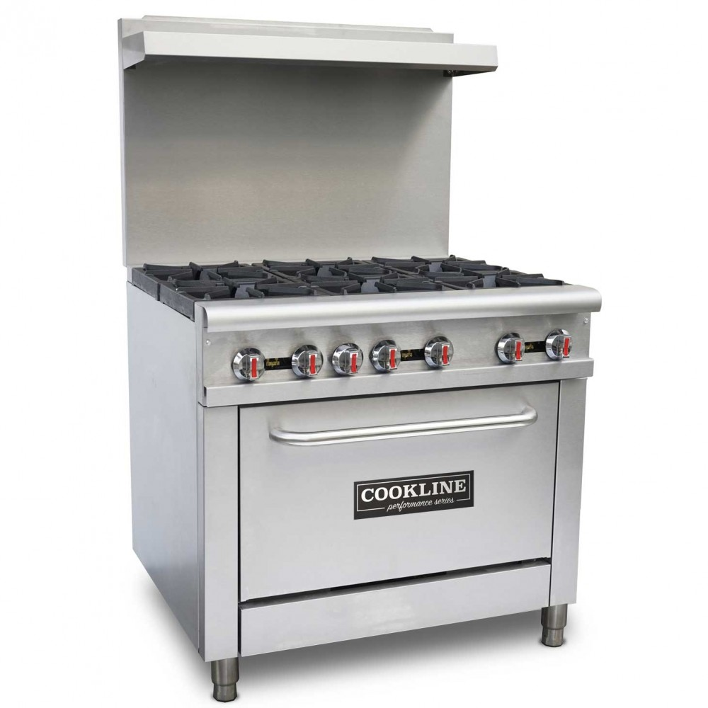 "Cookline CR36-6 36"" 6 Burner Gas Range with Oven - 210,000 BTU"