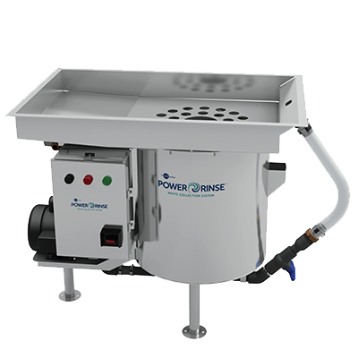 InSinkErator PowerRinse Pot/Pan (Model PRP) - Complete Waste Collection System Package. Requires only 1 GPM (3.79 LPM) of fresh water per hour. Pre-rinse and scrapping system with 30 GPM (113.56 LPM) recirculated water flow capability - PRP