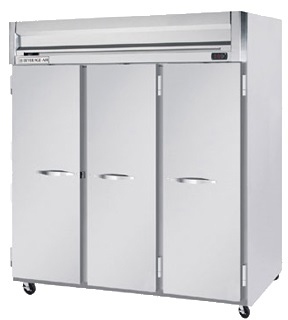 beverage-air commercial refrigerator reach-in 3-section full door top mount horizon series hrs3-1s