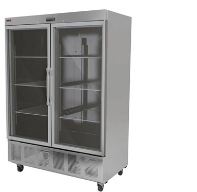 fagor commercial reach-in refrigerator glass double door 49 cft value series model qvr-2g