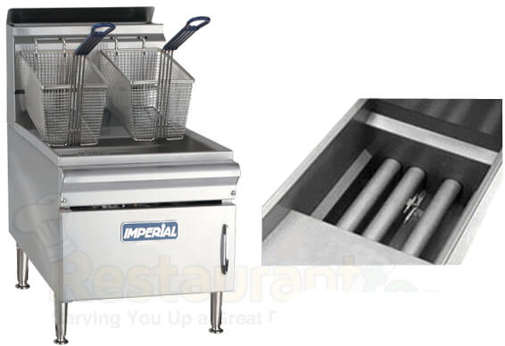 imperial commercial fryer counter top gas-tube fired stainless steel fry pot propane ifst-25