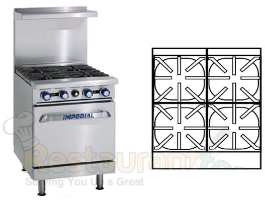"imperial commercial restaurant range 24"" with 4 burners 1 standard oven propane model ir-4"