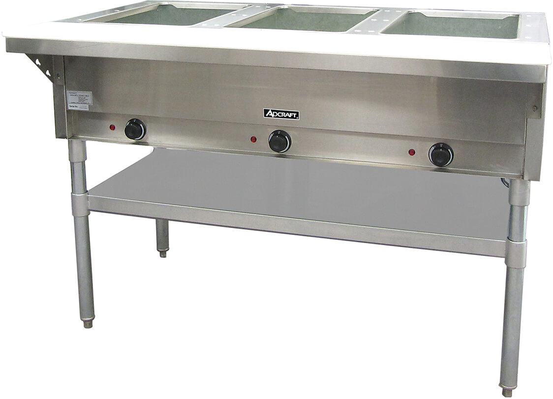 Adcraft 3 Bay Open Well Steam Table Model ST-120-3