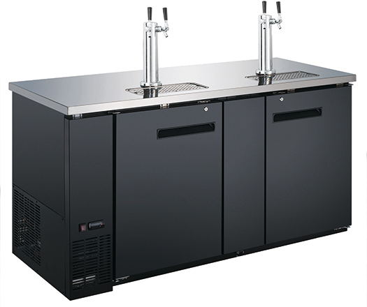 "Adcraft U-Star 69"" Wide Beer Dispenser, 2Dual Tap Towers-USBD-6928-2"