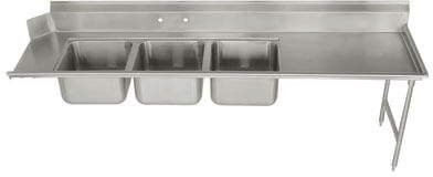 Advance Tabco Dish Table W/ Three Compartment Sink Dtc-3-1620-84L