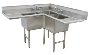 Advance Tabco Fabricated Corner 57 Three Compartment Sink Fc-K6-18D