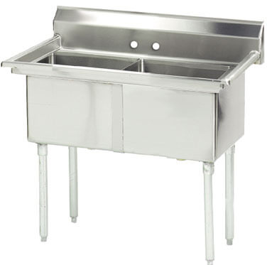 Advance Tabco 37 Fabricated Two Compartment Sink () Fe-2-1620