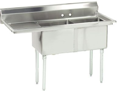 Advance Tabco 56.5 Fabricated Two Compartment Sink () Fe-2-1812-18L