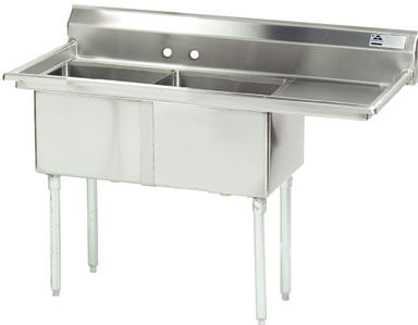 Advance Tabco 56.5 Fabricated Two Compartment Sink () Fe-2-1812-18R