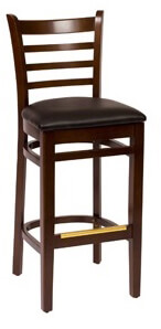 BFM Ladder Back Barstool Walnut Black Seat LWB101WABLV