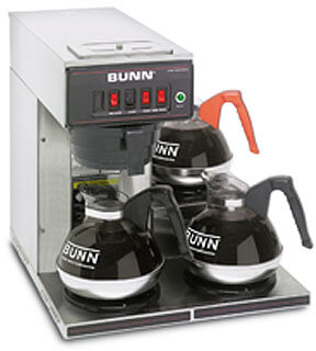 bunn 12 cup automatic coffee brewer with 3 warmers  12950.0112 model cwt15-3-0112