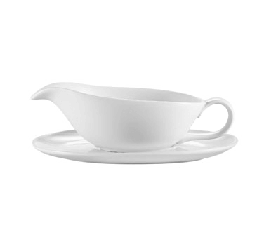CAC China Accessories Sauce Boat and Saucer Set - SBT-20 (24 set)