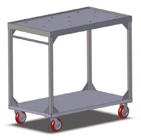 "Carter-Hoffmann Two shelf stacking cart for 136 correctional insulated trays; all welded stainless steel construction with 1"" square tube uprights stainless steel shelves; Includes 96"" tray straps with buckles - TT136"