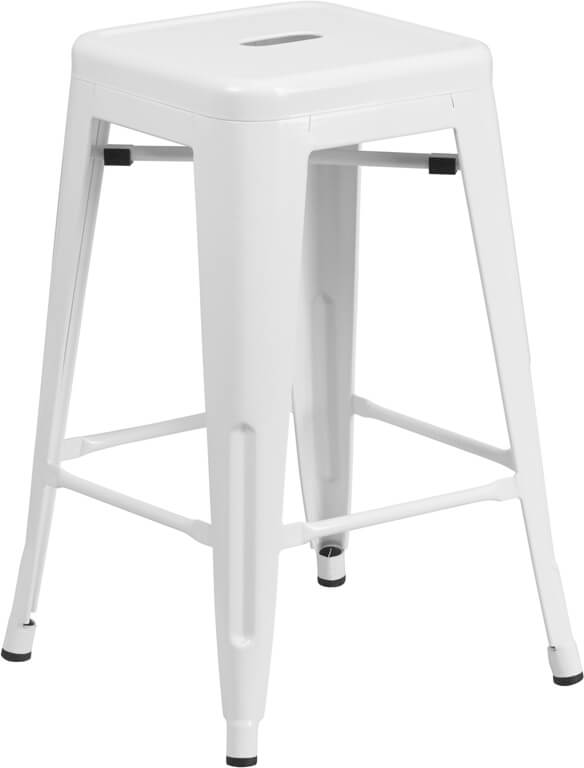 Flash Furniture Backless White Metal Stool  CH-31320-24-WH-GG