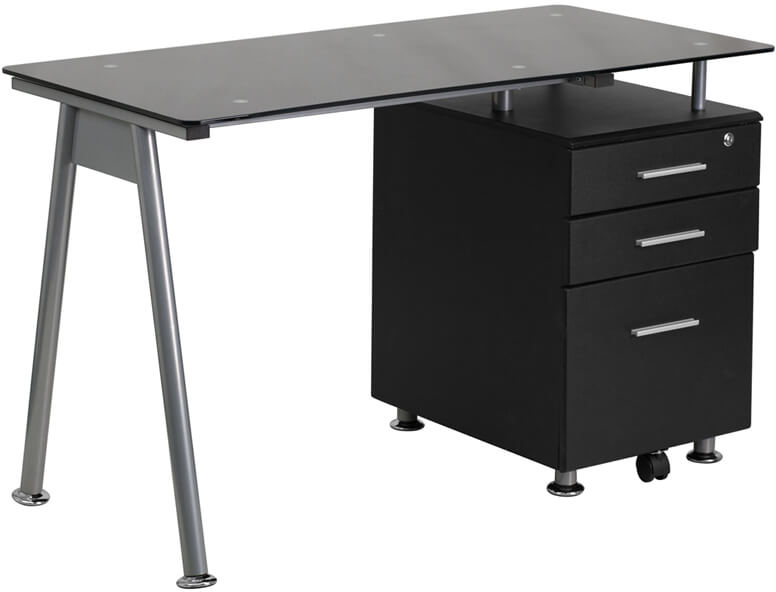 Flash Furniture Three Drawer Glass Top Desk  NAN-WK-021A-GG