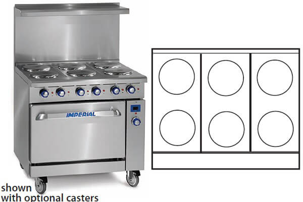 """Imperial Range 6 Elements 26"""" Std Oven Electric IR-6-E"""