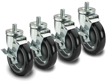 Krowne 5/8 - 11 Threaded Stem Caster 5 Wheel Set of 4 28-145S